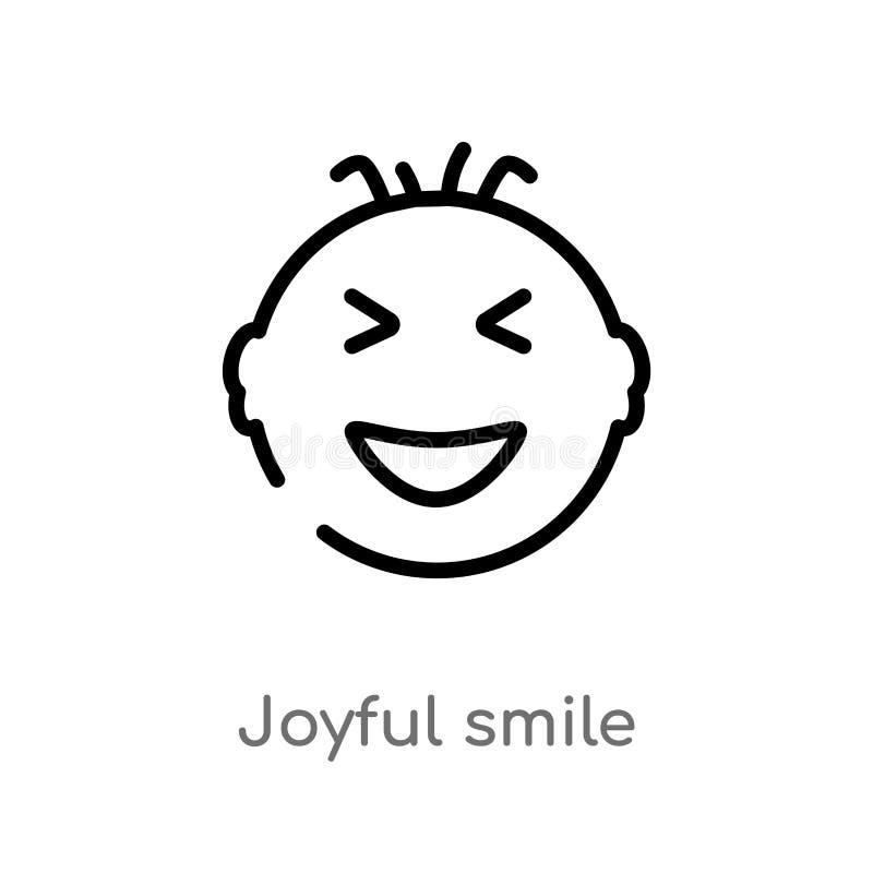 konturu uśmiechu wektoru radosna ikona odosobniona czarna prosta kreskowego elementu ilustracja od interfejs użytkownika pojęcia  ilustracja wektor