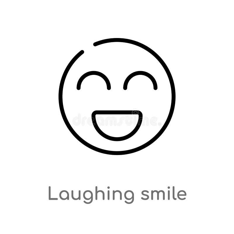 konturu uśmiechu wektoru roześmiana ikona odosobniona czarna prosta kreskowego elementu ilustracja od użytkownika pojęcia Editabl ilustracja wektor