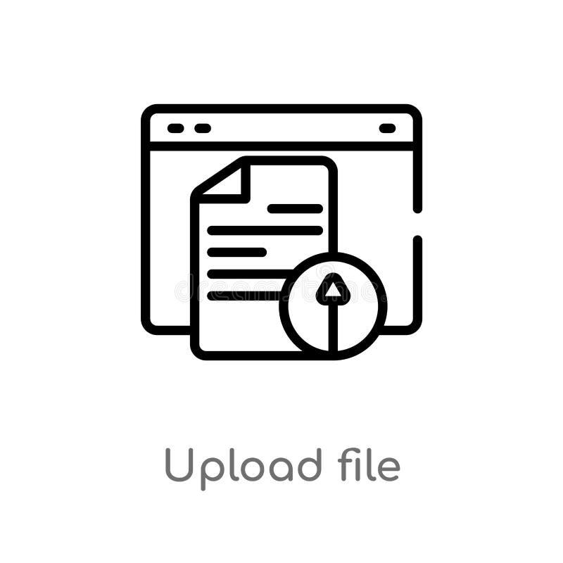 konturu upload kartoteki wektoru ikona odosobniona czarna prosta kreskowego elementu ilustracja od web hosting pojęcia Editable w ilustracji