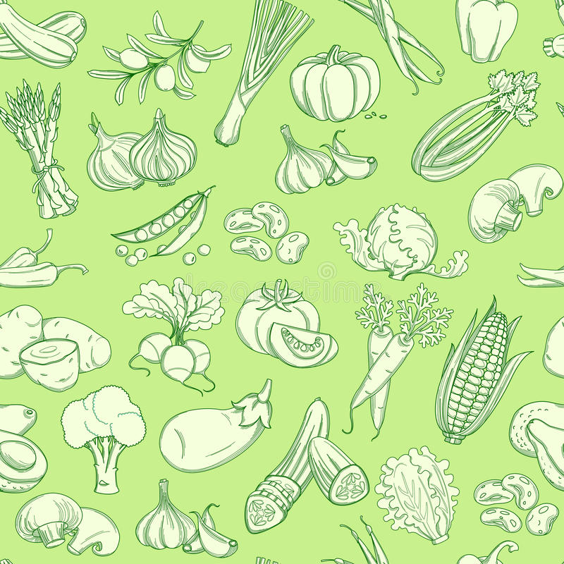 Konturu warzywa ręka rysujący wzór (mieszkanie styl, cienieje linię) ilustracja wektor
