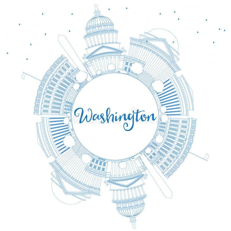 Konturu washington dc linia horyzontu z Błękitną kopii przestrzenią i budynkami royalty ilustracja