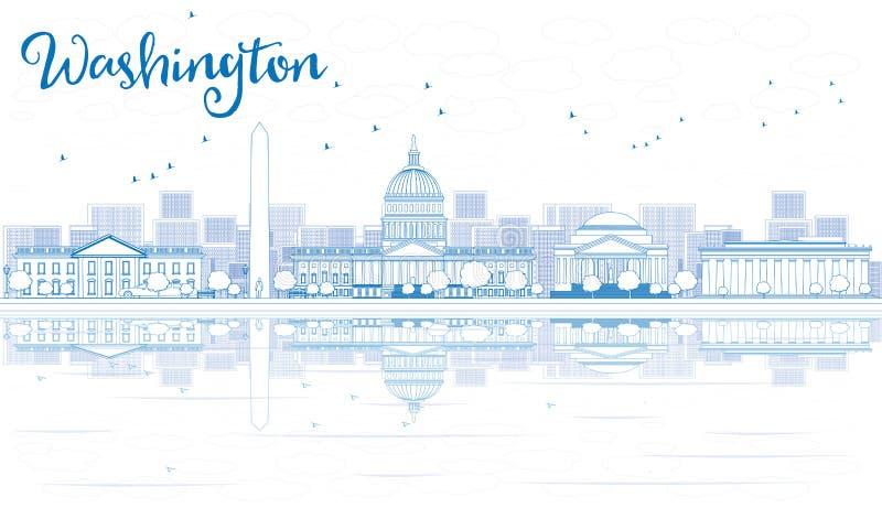 Konturu washington dc linia horyzontu z Błękitnym odbiciem i budynkami ilustracja wektor