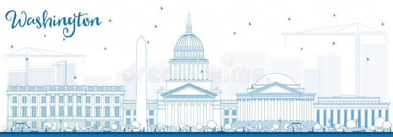 Konturu washington dc linia horyzontu z Błękitnymi budynkami ilustracja wektor