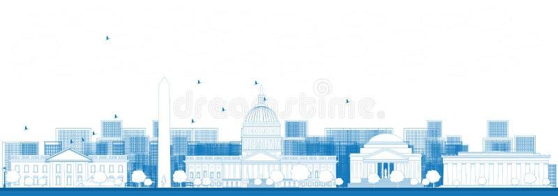 Konturu washington dc miasta linia horyzontu royalty ilustracja