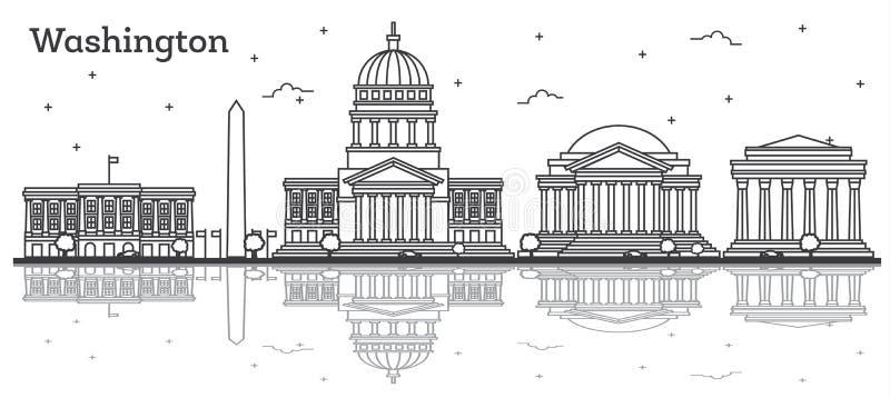 Konturu washington dc usa miasta linia horyzontu z Nowożytnym budynku Iso royalty ilustracja