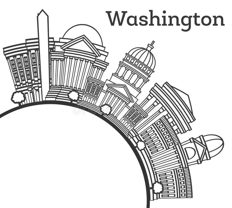 Konturu washington dc usa miasta linia horyzontu z Nowo?ytnymi budynkami i kopii przestrzeni? Odizolowywaj?c? na bielu royalty ilustracja