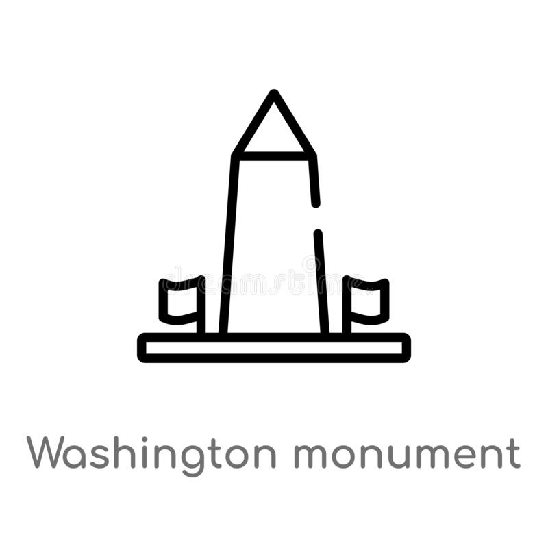 konturu Washington zabytku wektoru ikona odosobniona czarna prosta kreskowego elementu ilustracja od budynku pojęcia Editable wek royalty ilustracja