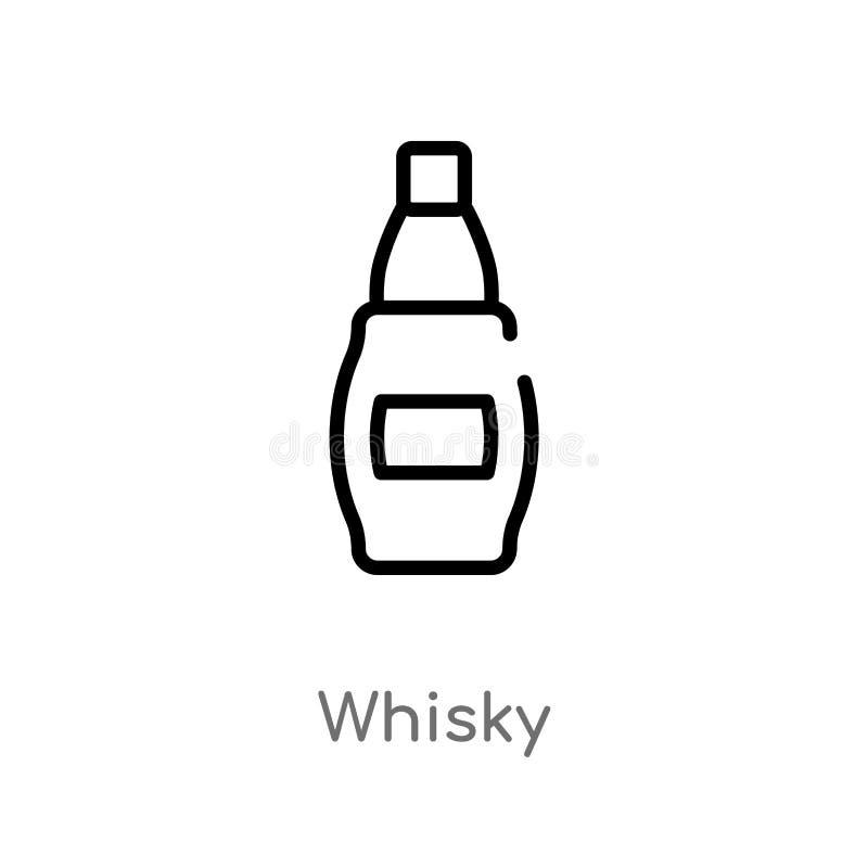 konturu whisky wektoru ikona odosobniona czarna prosta kreskowego elementu ilustracja od alkoholu poj?cia editable wektorowy uder royalty ilustracja