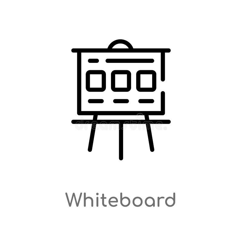 konturu whiteboard wektoru ikona odosobniona czarna prosta kreskowego elementu ilustracja od seo & sieci poj?cia Editable wektoro ilustracji