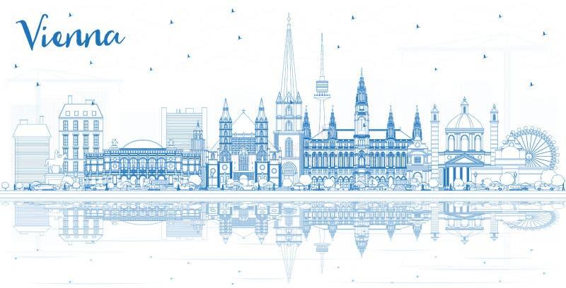 Konturu Wiedeń Austria miasta linia horyzontu z Błękitnymi budynkami i Refl ilustracja wektor