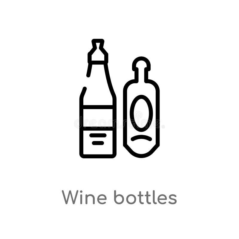 konturu wina butelek wektoru ikona odosobniona czarna prosta kreskowego elementu ilustracja od napoju poj?cia editable wektorowy  ilustracji