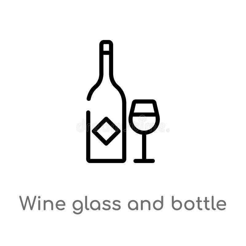konturu wina butelki i szkła wektoru ikona odosobniona czarna prosta kreskowego elementu ilustracja od karmowego pojęcia Editable royalty ilustracja
