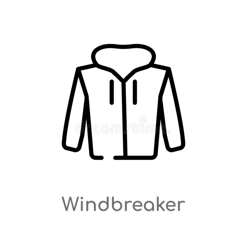 konturu windbreaker wektoru ikona odosobniona czarna prosta kreskowego elementu ilustracja od odzieżowego pojęcia Editable wektor ilustracji