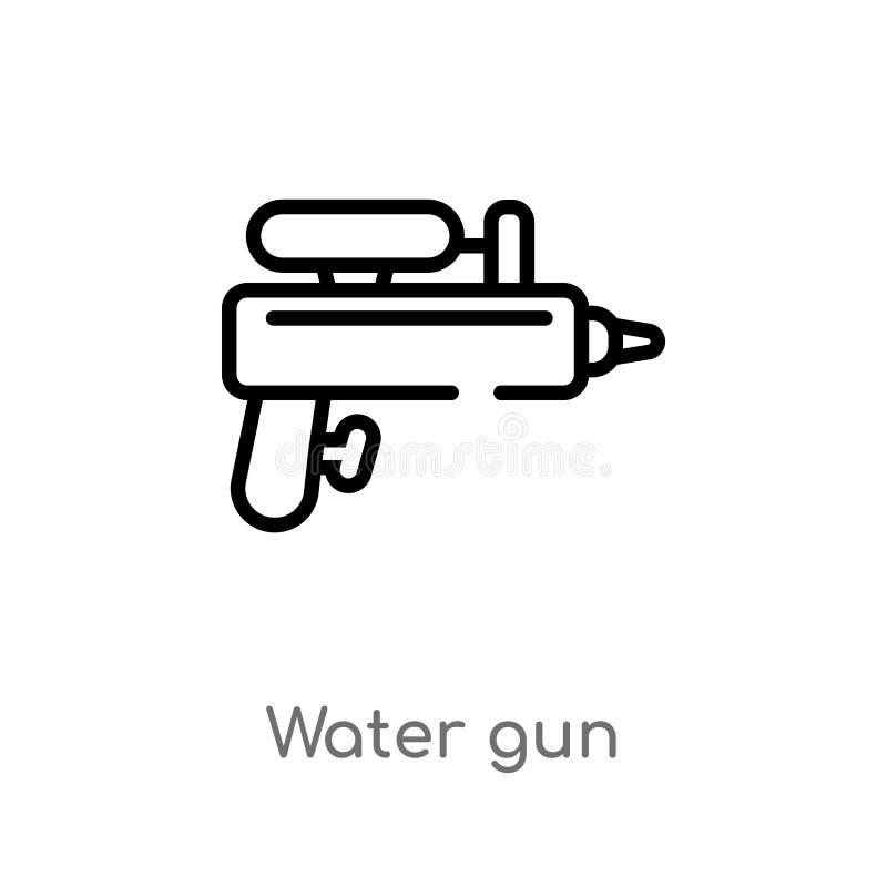 konturu wodnego pistoletu wektoru ikona odosobniona czarna prosta kreskowego elementu ilustracja od czasu wolnego poj?cia Editabl ilustracja wektor