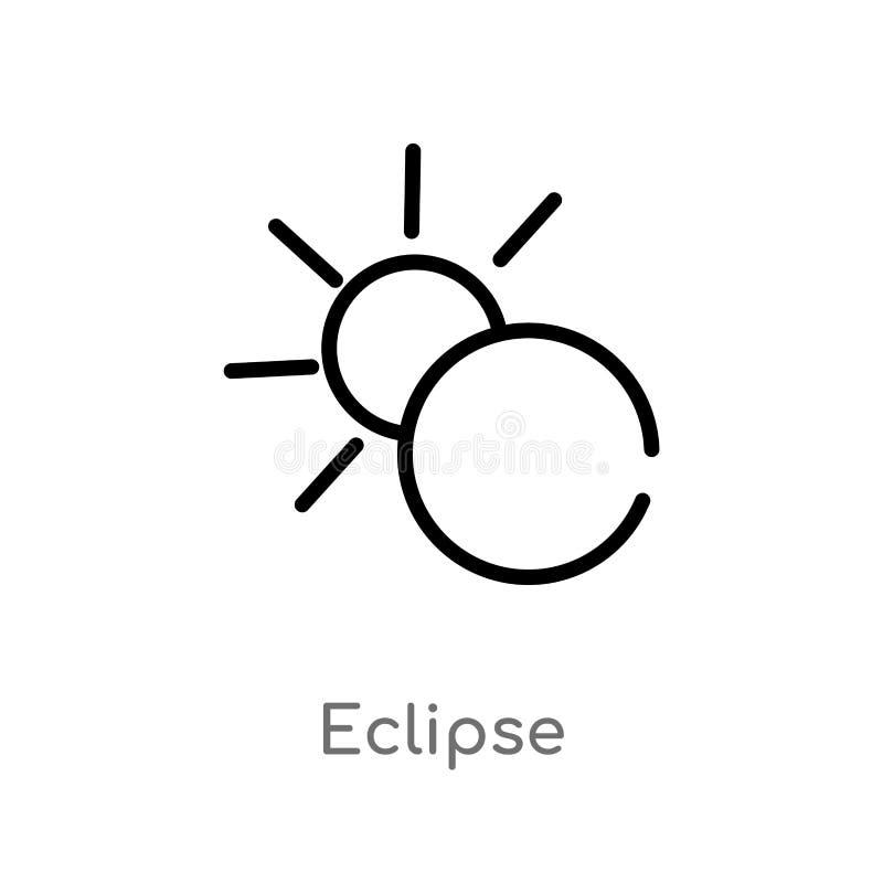 konturu zaćmienia wektoru ikona odosobniona czarna prosta kreskowego elementu ilustracja od pogodowego pojęcia editable wektorowy ilustracji