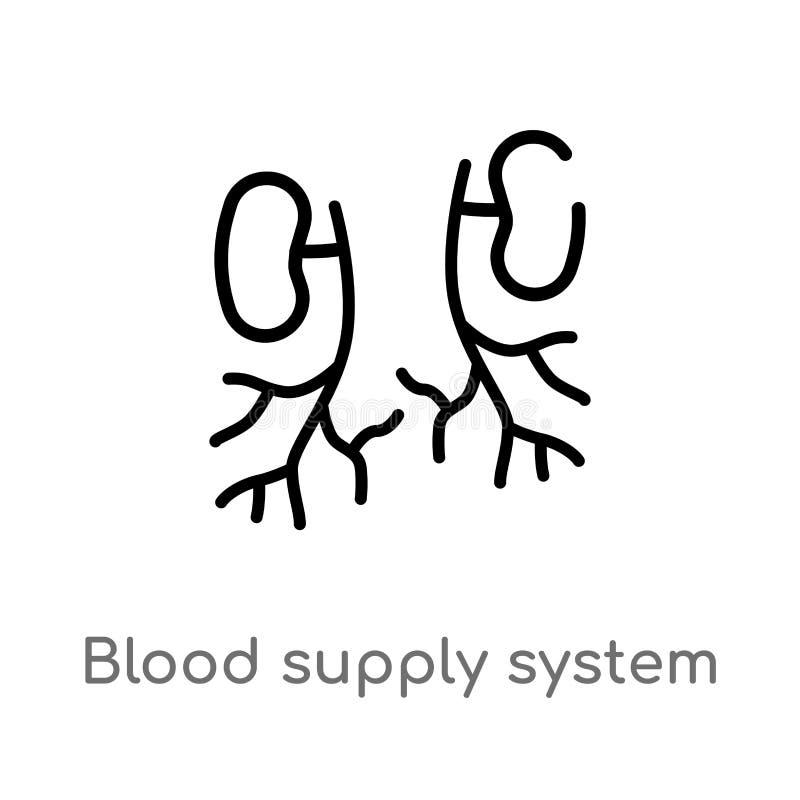 konturu zaopatrzeniowego systemu wektoru krwionośna ikona odosobniona czarna prosta kreskowego elementu ilustracja od cia?o ludzk ilustracja wektor