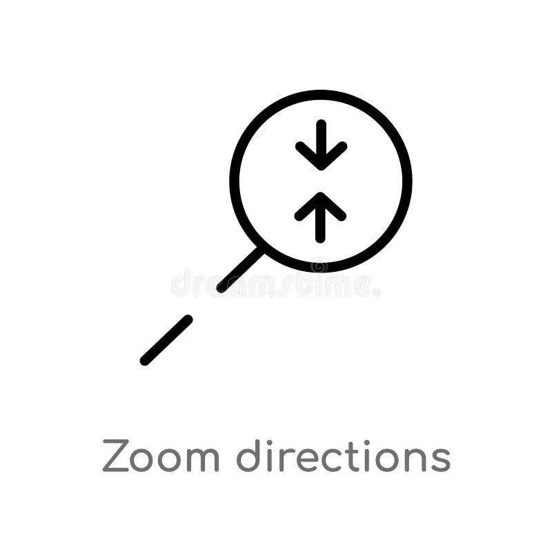 konturu zoomu kierunków wektoru ikona odosobniona czarna prosta kreskowego elementu ilustracja od strzały pojęcia Editable wektor ilustracji