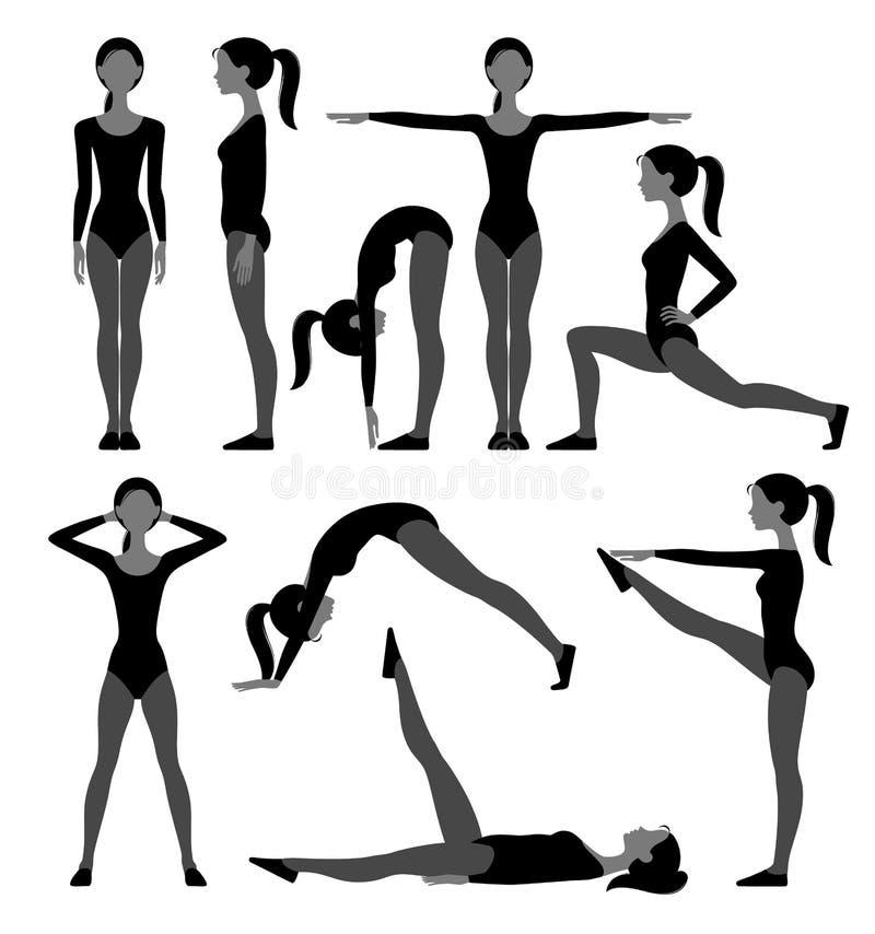 Konturuppsättning av den slanka flickan i konditiondräkten som gör övningsisolator stock illustrationer