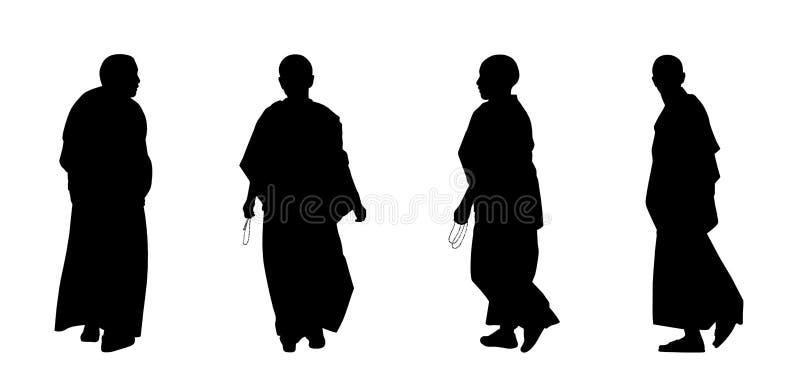 Konturuppsättning 2 för buddistiska munkar vektor illustrationer