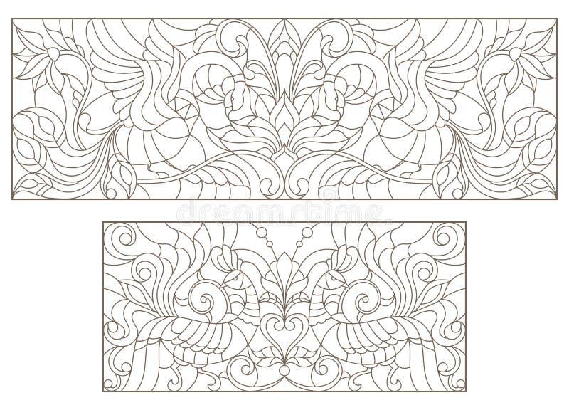 Konturuppsättning med illustrationer av målat glass med abstrakt begreppblommor och fåglar och den mörka översikten på en vit bak stock illustrationer