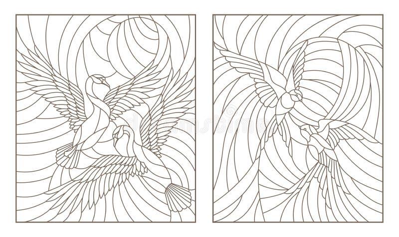 Konturuppsättning med illustrationer av målat glassfåglar, par av svanar och ett par av svalor i himmel på bakgrundssolen royaltyfri illustrationer