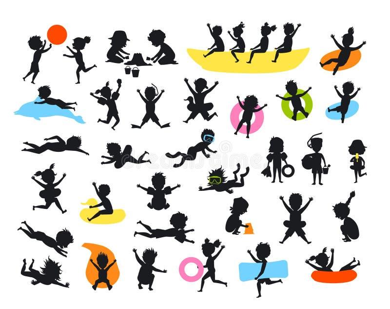 Konturuppsättningen av barn för sommartid på banhoppningen för strandsimningdykning som spelar bollen och att göra av sandslott s vektor illustrationer