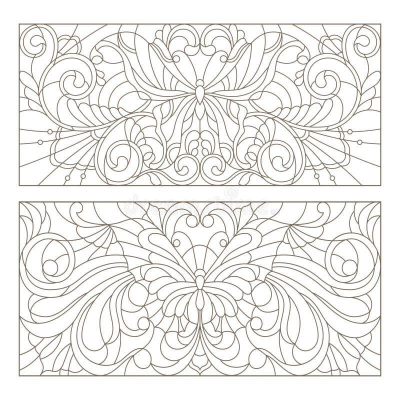 Konturuppsättningen av målat glass med illustrationabstrakt begrepp virvlar runt, blommor och fjärilar, horisontalriktning vektor illustrationer