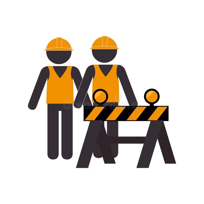 Konturvägkonstruktion och arbetargrupp royaltyfri illustrationer