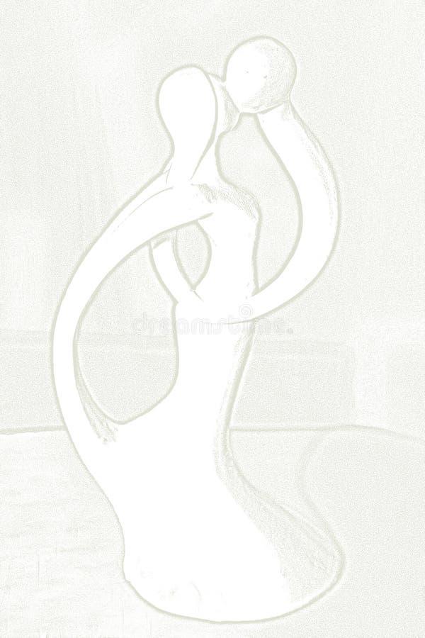 konturvänner som visar förälskelse och mjukhet stock illustrationer