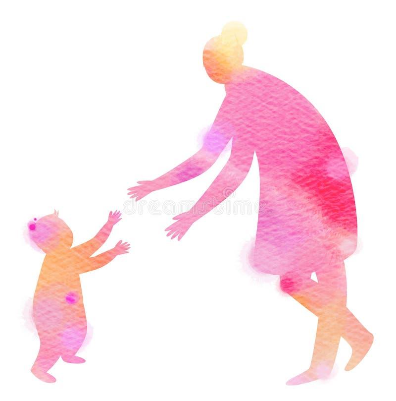 Konturvattenfärg av lyckliga föräldrar som har bra tid med vektor illustrationer