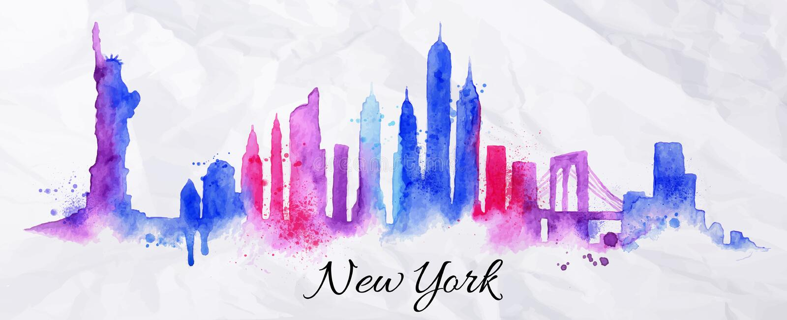 Konturvattenfärg New York royaltyfri illustrationer