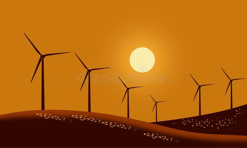 Konturvindturbiner på fält för bergjordbruksmarkgräs med solnedgånghimmelbakgrund Duva som symbol av f?r?lskelse, pease vektor illustrationer