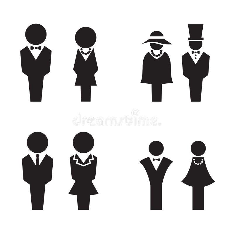KonturWC, toaletten, toaletten, symboler ställde in stock illustrationer