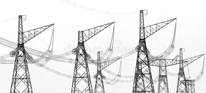Kontury elektryczni wysoki woltaż górują zdjęcie royalty free