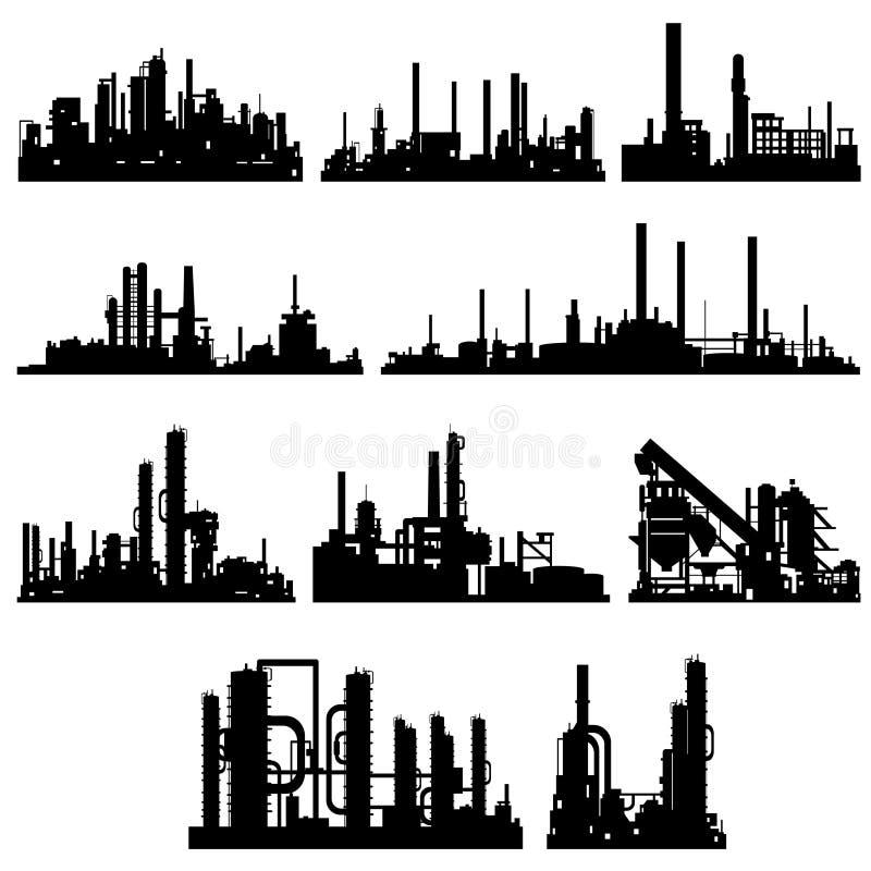 Kontury przemysłowi budynki i struktura ilustracja wektor
