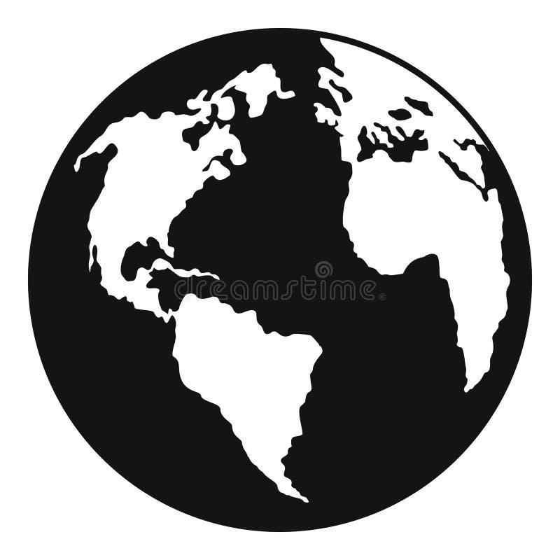 Kontynent na planety ikonie, prosty styl ilustracja wektor