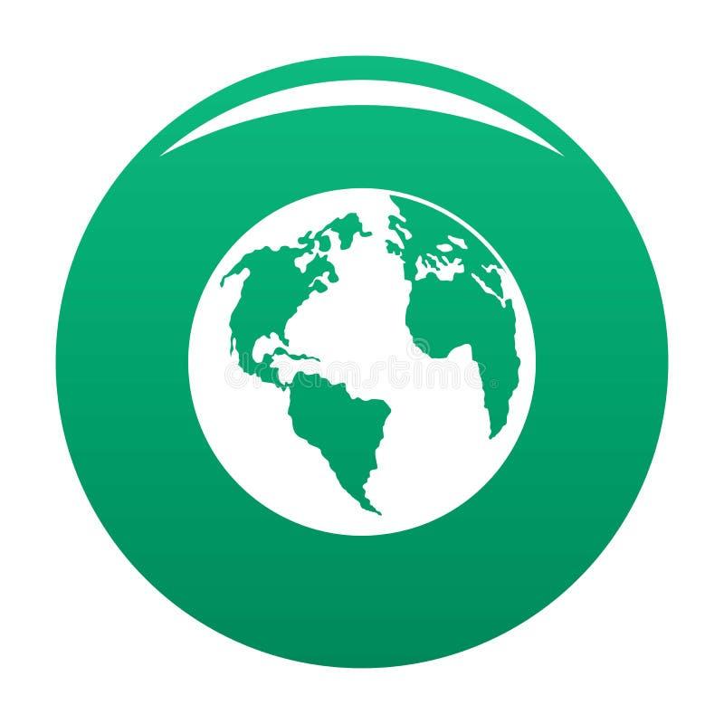 Kontynent na planety ikony wektoru zieleni ilustracji