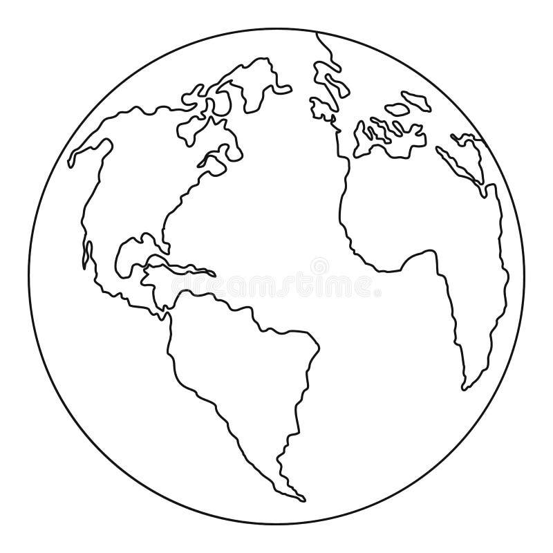 Kontynent planety ikona, konturu styl ilustracji