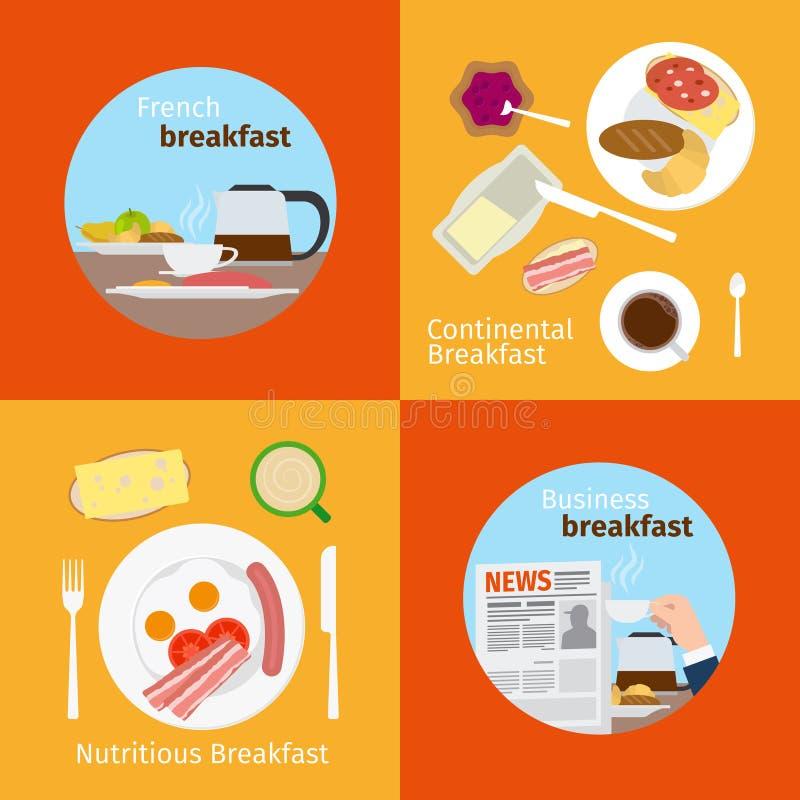 Kontynentalni i Francuscy Śniadaniowi pojęcia ilustracja wektor