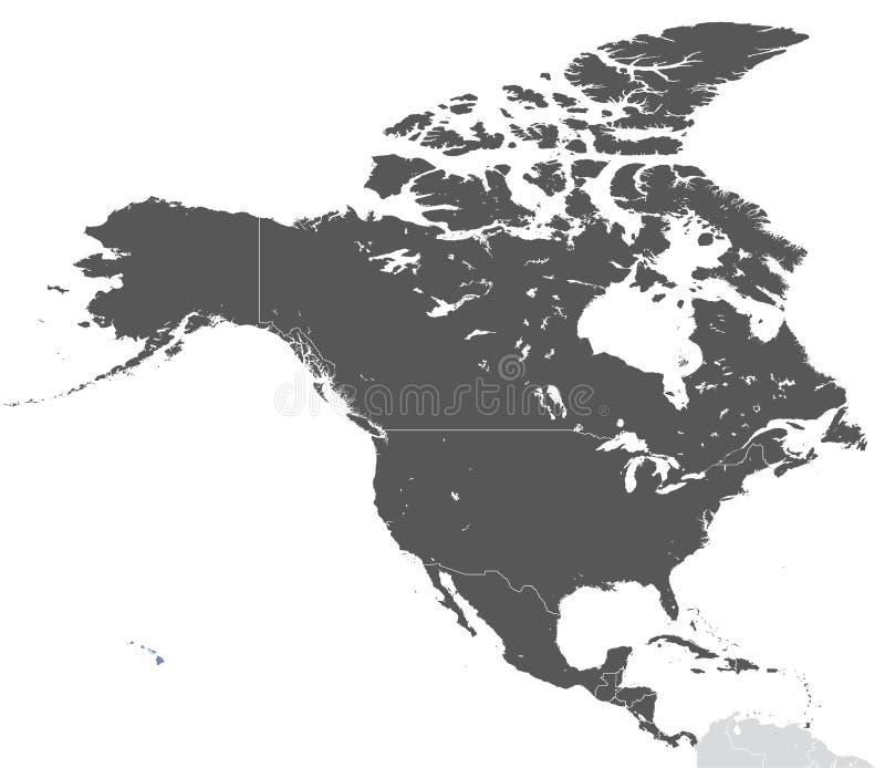 Kontynentu Północna Ameryka mapa ilustracja wektor