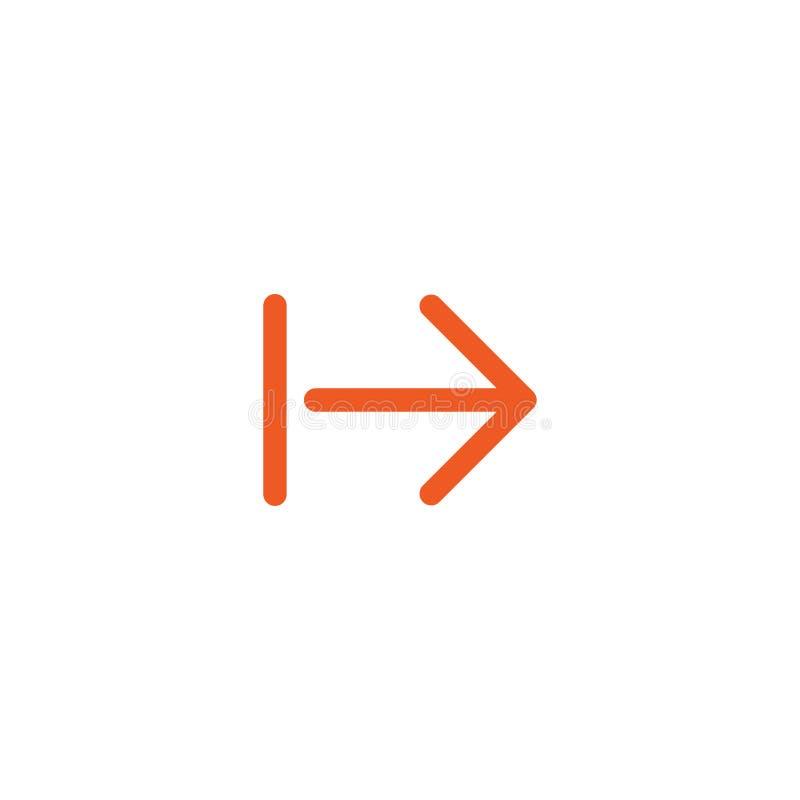 Kontynuuje ikonę czerwieni prawej strzały cienka ikona Odizolowywający na bielu Następny znak royalty ilustracja
