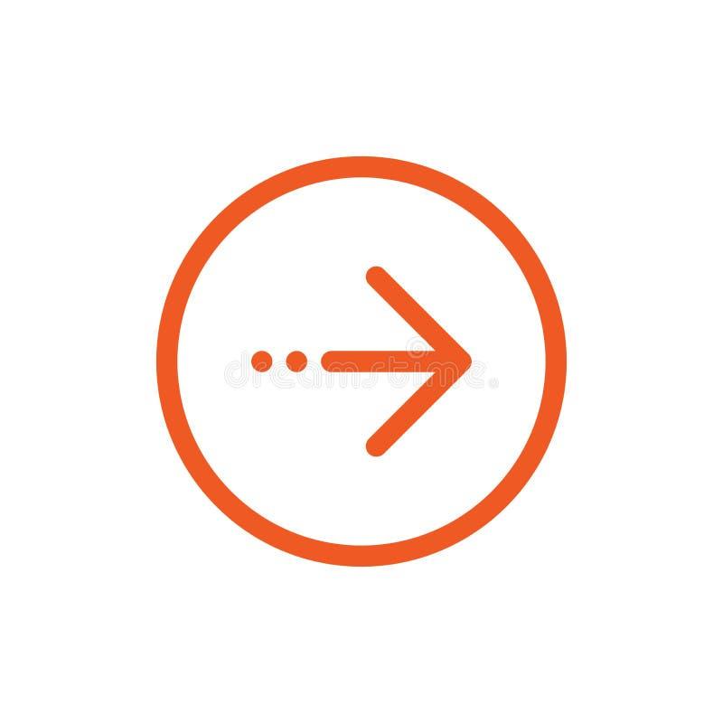 Kontynuuje ikon? czerwieni cienka prawa strza?a i trzy kropek ikona Odizolowywaj?cy na bielu ilustracji