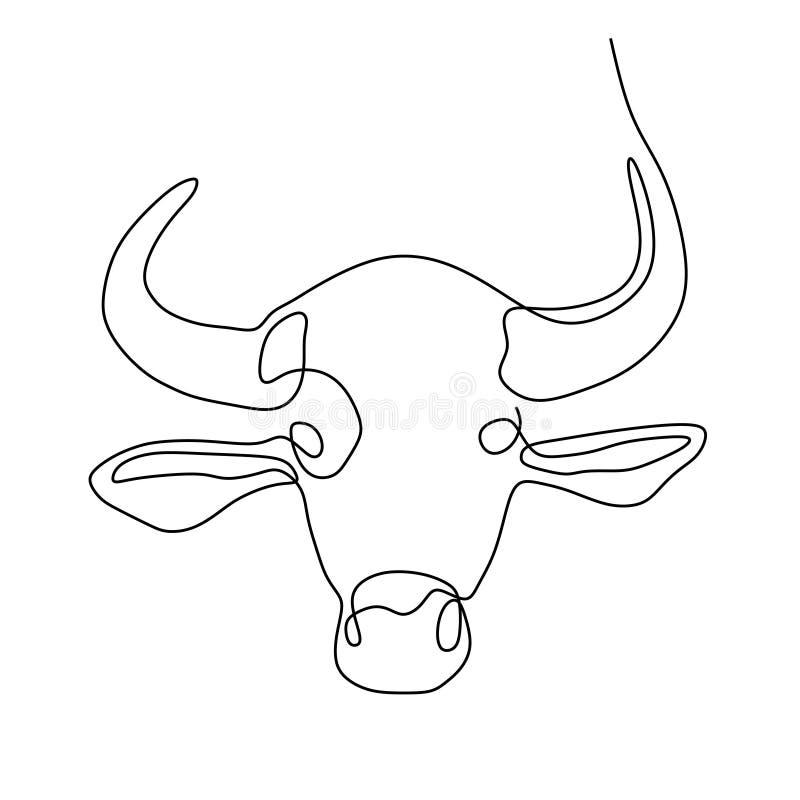 Kontynuuje kreskowego rysunek byk głowa ilustracji