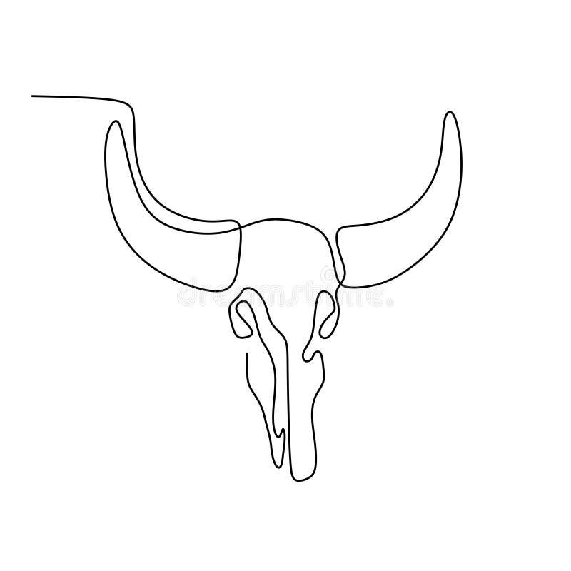 Kontynuuje kreskowego rysunek byk głowa royalty ilustracja