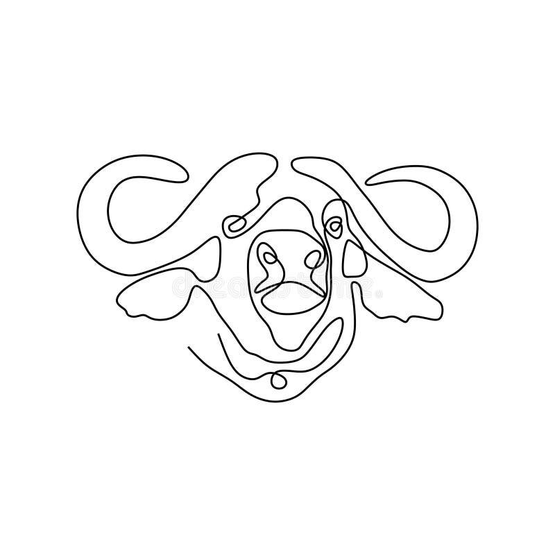 Kontynuuje kreskowego rysunek byk głowa ilustracja wektor