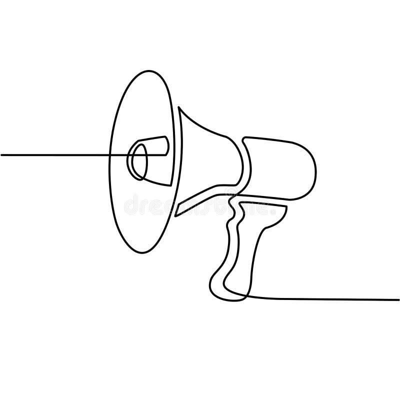Kontynuuje kreskowego rysunek megafon ikona pojęcie socjalny marketingowy medialny ilustracja wektor