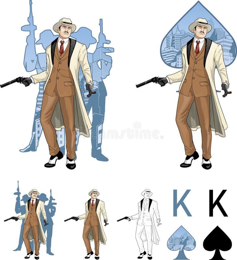 Konung av den caucasian mafiosogudfadern för spadar med royaltyfri illustrationer