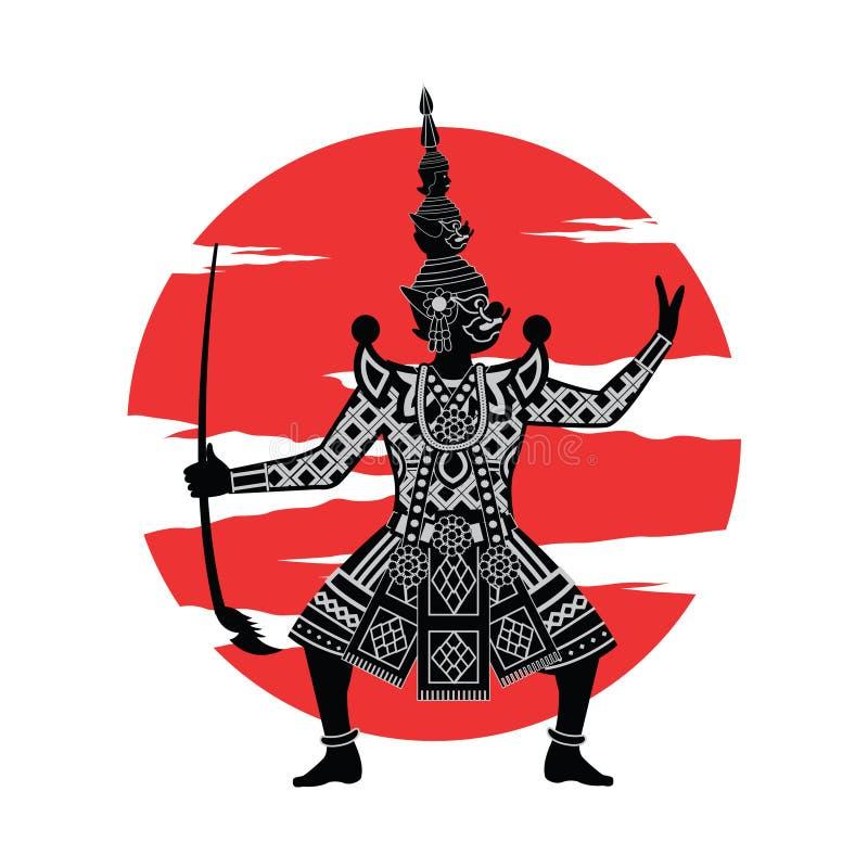 Konung av den jätte- ställningen framme av den röda cirkeln, tecken av Ramayana vektor illustrationer