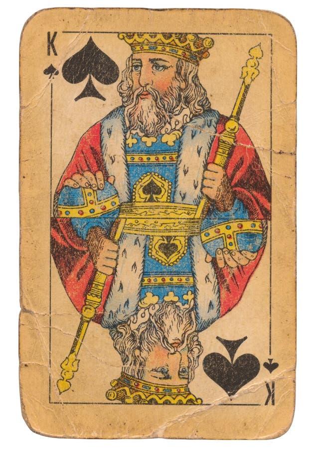Konung av kortet för gammal stil för grunge för spadar det spela sovjetisk royaltyfri fotografi