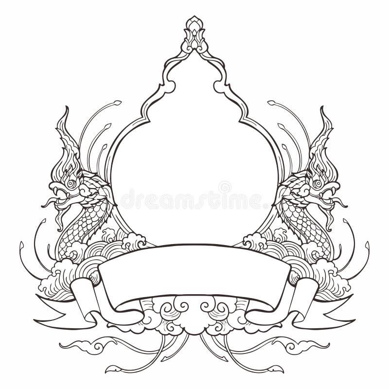 Konung av Nagasramen med dekorativ stildesign för thailändsk tradition med bandetiketten stock illustrationer